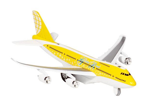 Goki Metalen Vliegtuig Met Geluid en Licht 18,5 cm Geel