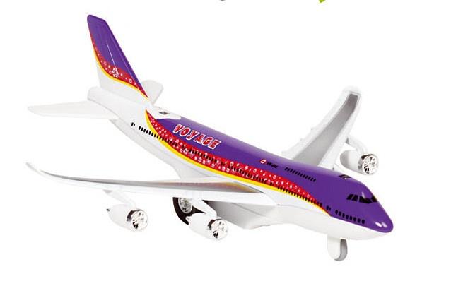 Goki Metalen Vliegtuig Met Geluid en Licht 18,5 cm Paars
