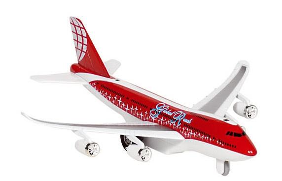 Goki Metalen Vliegtuig Met Geluid en Licht 18,5 cm Rood