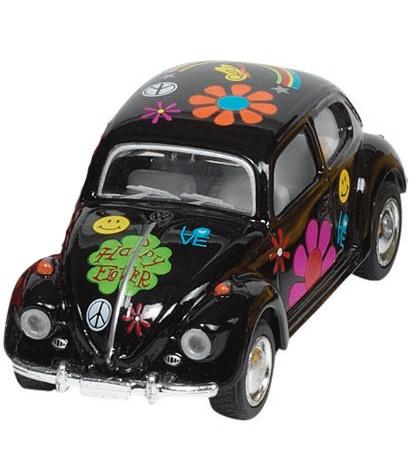 Welly Metalen Volkswagen Klassieke Kever 1967: Zwart Bloemen