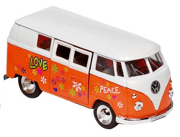 Goki Metalen Volkswagen Microbus 1962: Oranje Met Opdruk