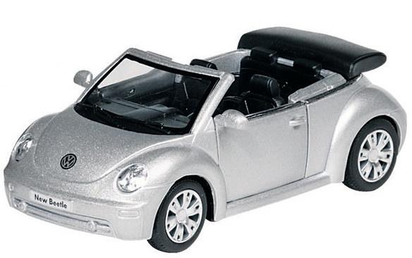Goki Metalen VW Nieuwe Kever Cabriolet: Zilver 12,8 cm