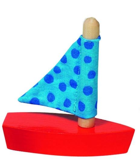 Goki Mini Zeilboot: Blauw Met Stippen 7cm