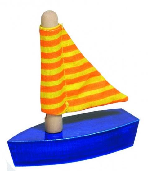 Goki Mini Zeilboot: Oranje Strepen 7cm
