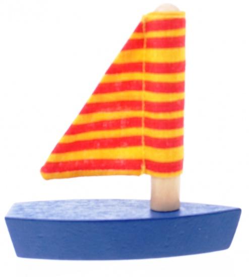 Goki Mini Zeilboot: Rood Strepen 7cm