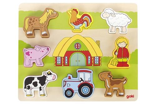Goki op de boerderij puzzel hout 8 delig 28 x 23 cm