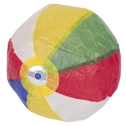Goki papieren strandbal met gekleurde strepen 16,4 cm