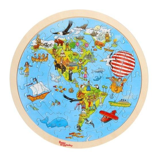 Goki Peggy Diggledey op wereldreis puzzel hout 57 delig