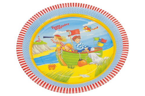 Goki Peggy Diggledey kartonnen partybord 22 cm 8 delig