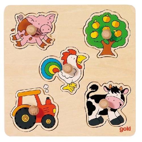 Goki Houten Platteland Puzzel 5 Delig