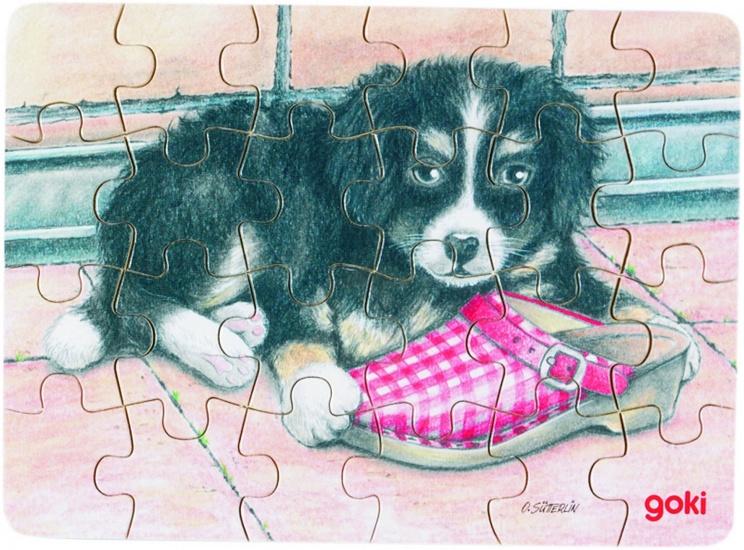 Goki Puzzel Babydieren: Hond + Schoen 24 Delig