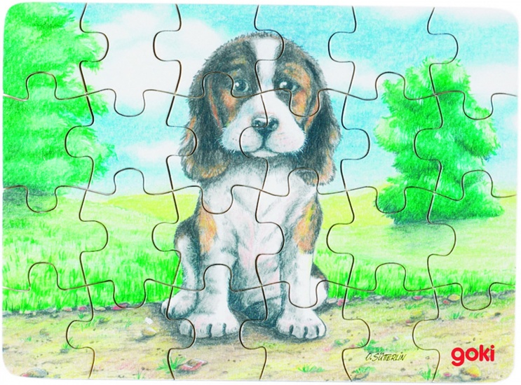 Goki Puzzel Babydieren: Hond Buiten 24 Delig