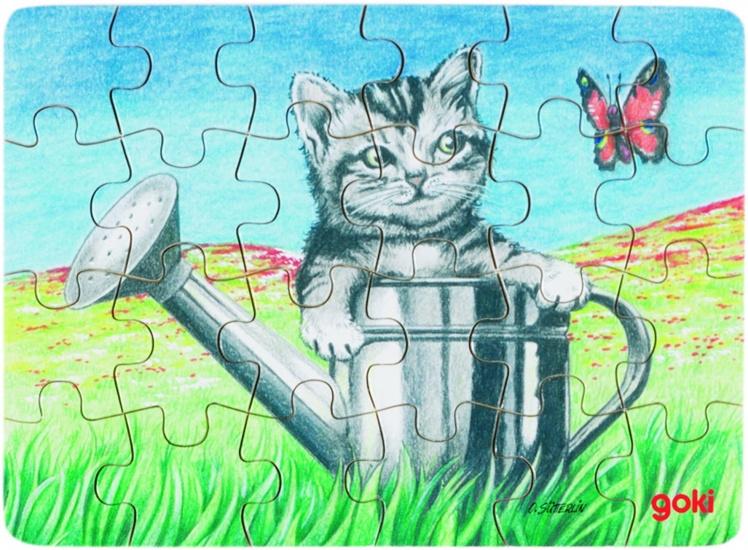 Goki Puzzel Babydieren: Kat + Gieter 24 Delig