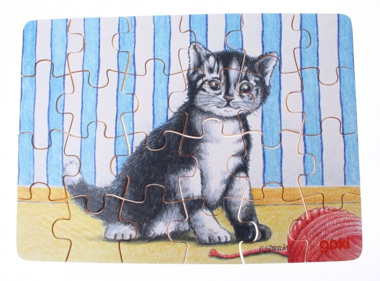 Goki Puzzel Babydieren: Kat + Touw 24 Delig