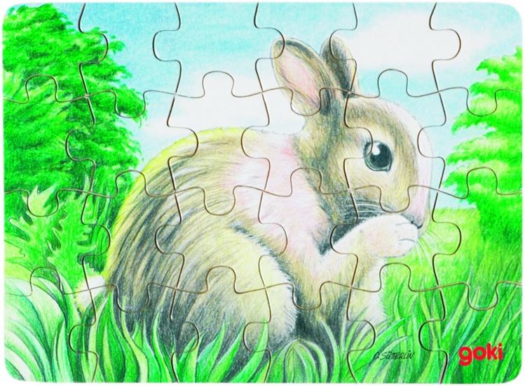 Goki Puzzel Babydieren: Konijn Buiten 24 Delig