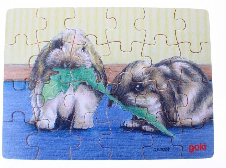 Goki Puzzel Babydieren: Konijn Eten 24 Delig