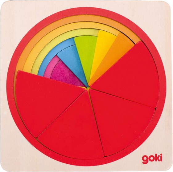 Goki puzzel cirkel hout 12 x 12 cm 37 delig
