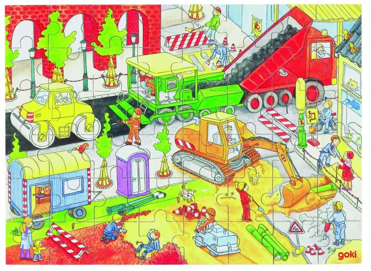 Goki Puzzel: Op Een Bouwwerf 48 Delig