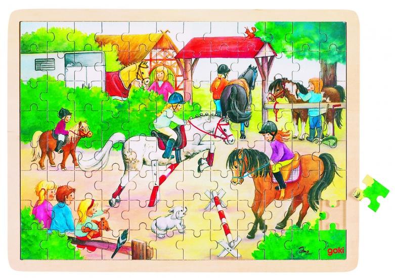 Goki Puzzel: Paarden Springen 96 Delig