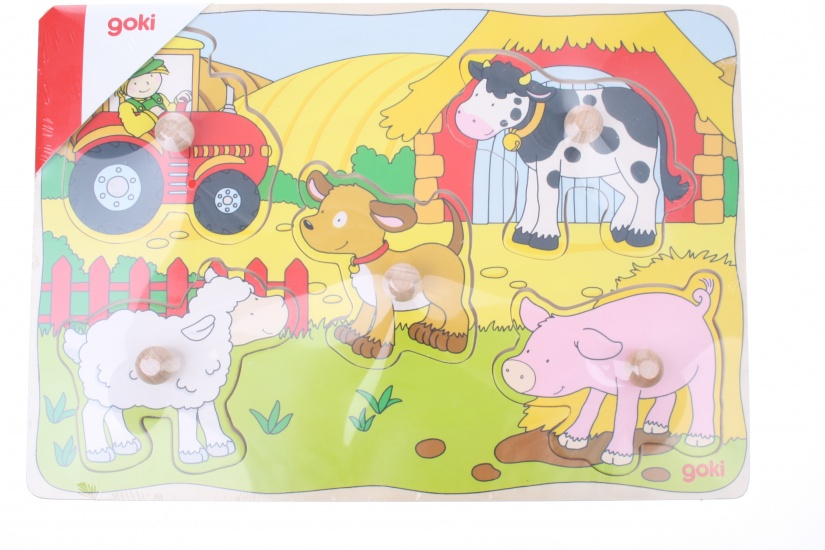 Goki Buttons Puzzle With Farm Animals Internet Toys