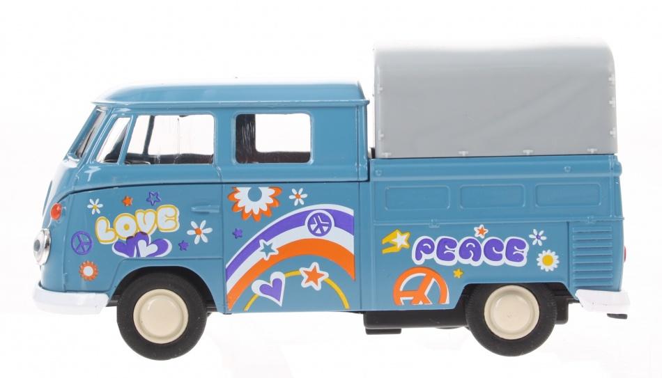 Goki volkswagen T1 Doka pick up peace blauw 11 cm