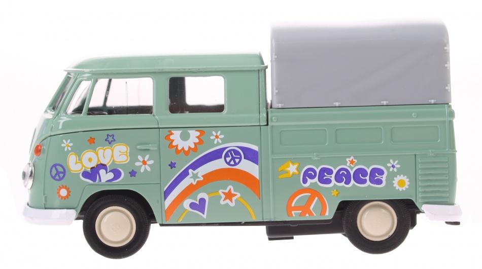 Goki volkswagen T1 Doka pick up peace groen 11 cm