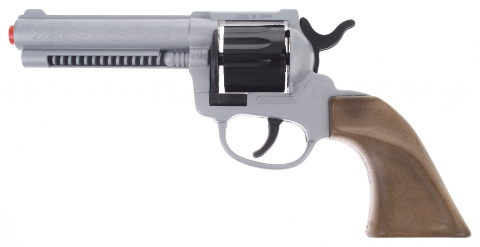 Gonher Speelgoed revolver cowboy 12 schots grijs / zwart