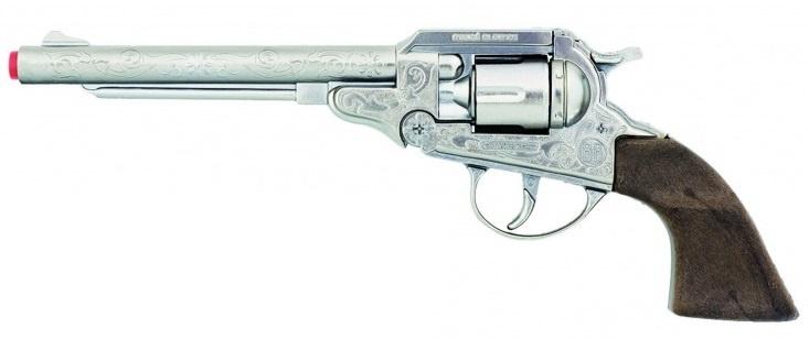 Gonher Speelgoed revolver cowboy 8 schots 27,5 cm zilver