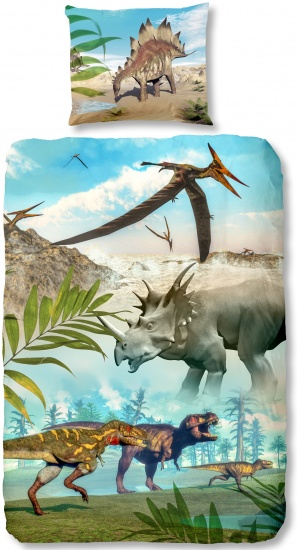Good Morning dekbedovertrek dino world 140 x 200 cm groen