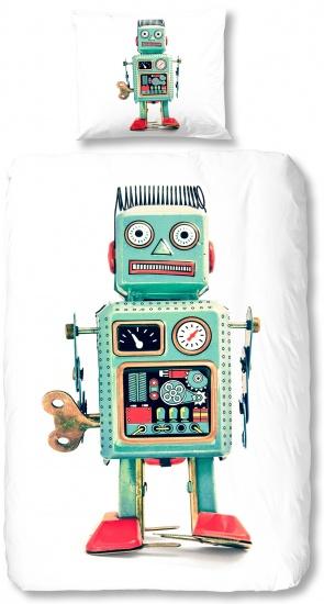 Good Morning Dekbedovertrek robot 200 x 140 cm groen/wit