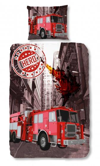 Good Morning dekbedovertrek Brandweer 140 x 200/220 cm rood