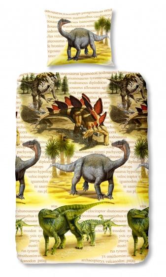 Good Morning dekbedovertrek Dino 140 x 200/220 cm geel
