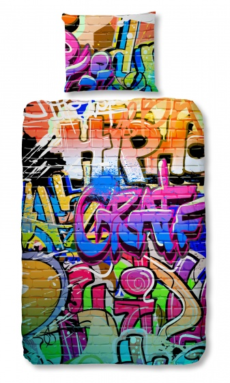 Good Morning dekbedovertrek Graffiti 135 x 200 cm