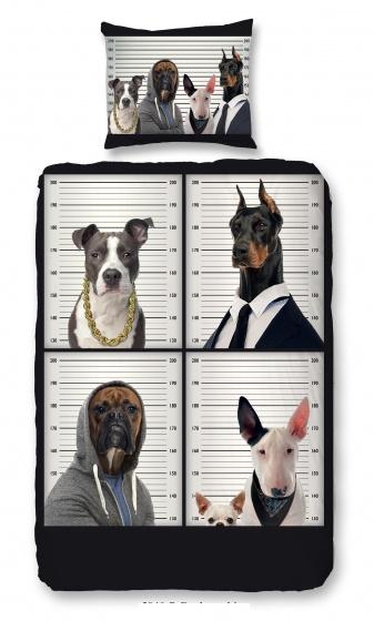 Good Morning dekbedovertrek Honden 140 x 200-220 cm zwart