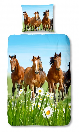 Good Morning dekbedovertrek Horses 135 x 200 cm