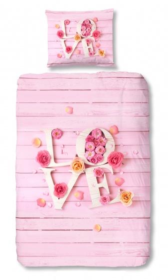 Good Morning dekbedovertrek Love 140 x 200/220 cm roze