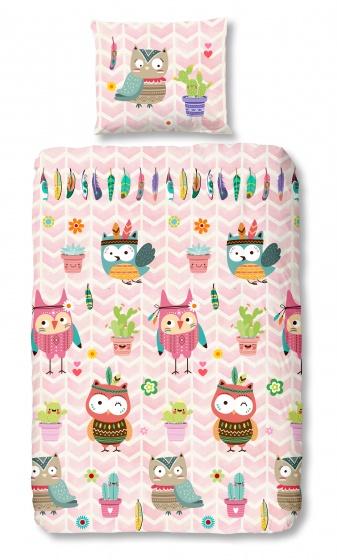 Good Morning dekbedovertrek Owlz 140 x 200/220 cm roze