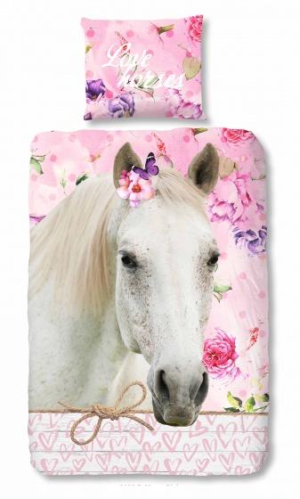 Good Morning dekbedovertrek Paard 140 x 200/220 cm roze