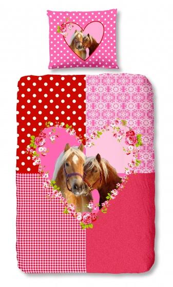 Good Morning dekbedovertrek Paard 140 x 200/220 cm roze/rood