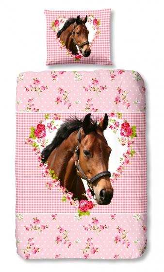 Good Morning dekbedovertrek paard roze 140 x 220 cm