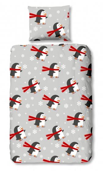 Good Morning dekbedovertrek Pinguins 140 x 200/220 cm grijs