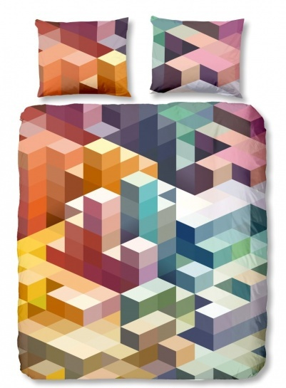 Good Morning dekbedovertrek Cubes multikleur 200x200-220 cm