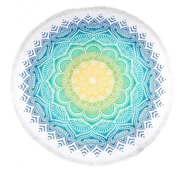 Hip strandlaken Carola 160 cm blauw/geel kopen
