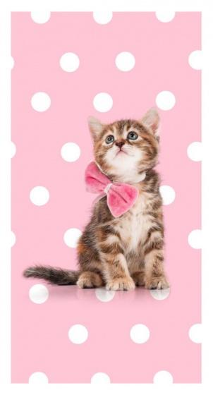 Good Morning strandlaken Sweet Cat 75 x 150 cm roze kopen