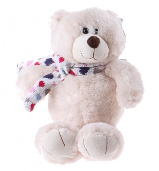 Kamparo knuffelbeer met vrolijke sjaal 28 cm wit