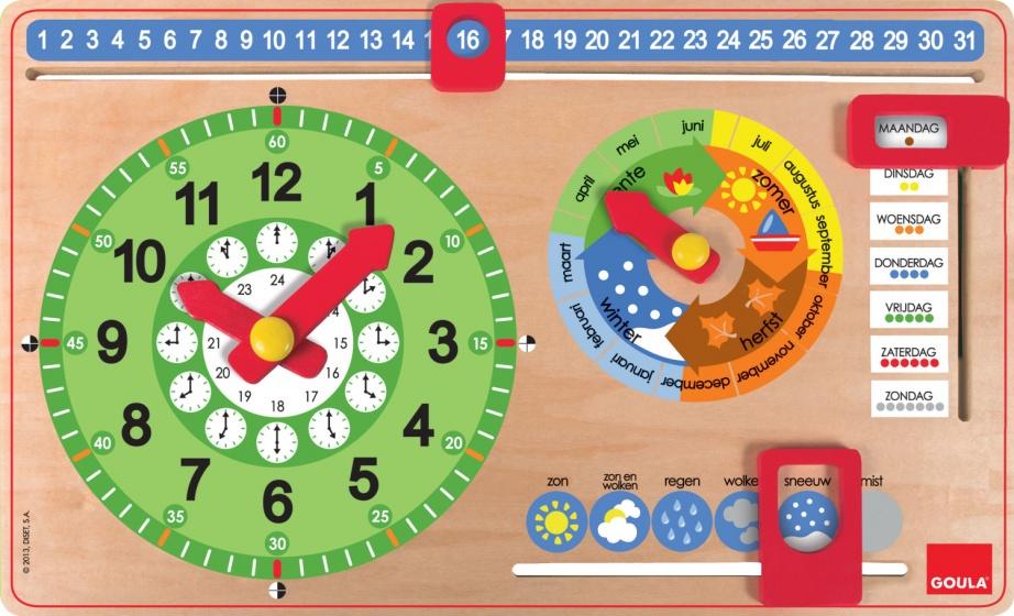 Kalenderklok Goula Hout