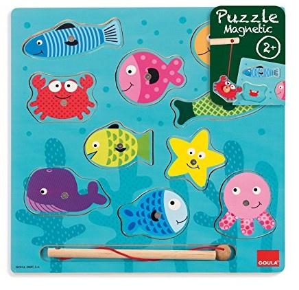 Goula magnetische puzzel vissen hout 10 stukjes