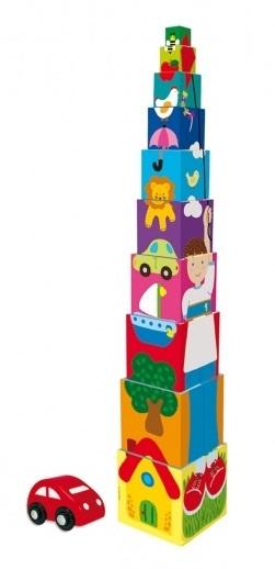 Goula stapelblokken Pile up Cubes Car 10 delig