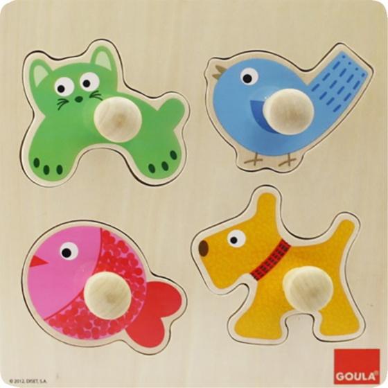 Goula vormenpuzzel huisdieren 4 stukjes