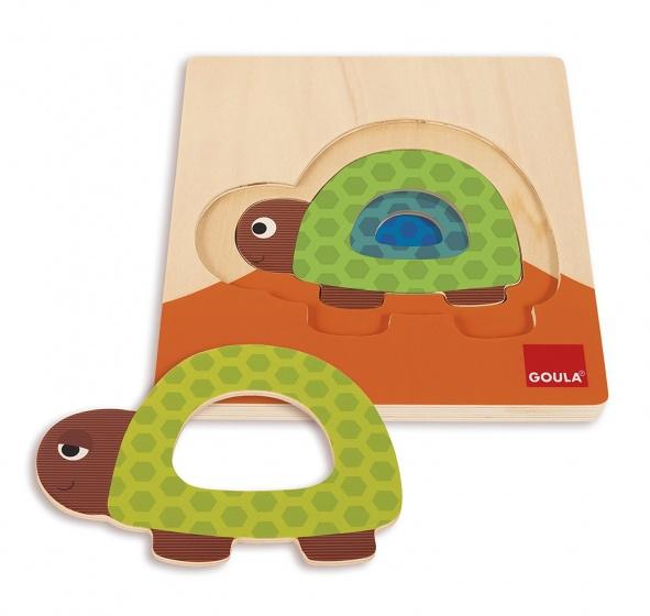 Goula vormenpuzzel schildpad 3 stukjes